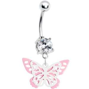 Crystalline Gem Butterfly Wings Belly Ring Jewelry