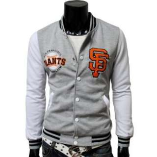 TheLees Mens Casual Embroidered Varsity Hood Baseball Jacket Clothing
