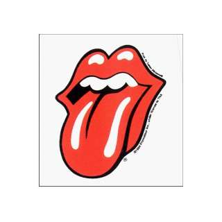 Rolling Stones   Classic Tongue Logo on White Square   Sticker / Decal