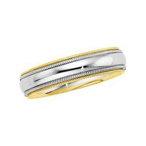 Size 07.50 14K White/Yellow Gold Two Tone Comfort Fit Band
