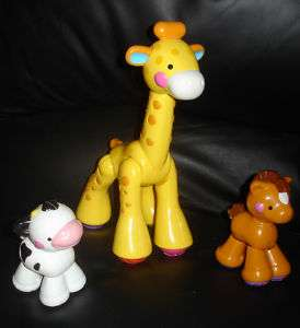 LOT OF 3 FISHER PRICE AMAZING ANIMALS GIRAFFE COW HORSE