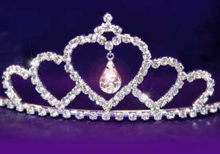 Bridal Wedding Heart Crystal Rhinestone Tiara T1073