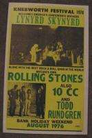 ROLLING STONES 1976 CONCERT POSTER KNEBWORTH 70s Ronnie Van Zant