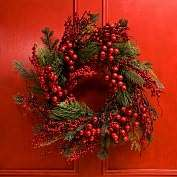 Product Image. Title Red Berry & Pine Wreath 26