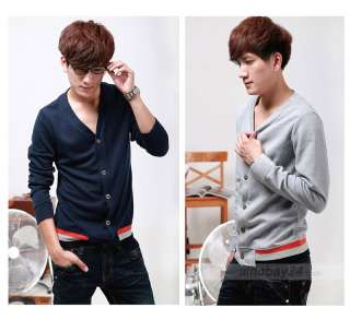 C51025 Mens Stylish Slim Fit Causal Cotton Blends V Neck Sweater Warm