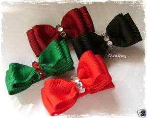 Chic~Holiday Christmas Dressy Baby/Girl Hair Bow Bling