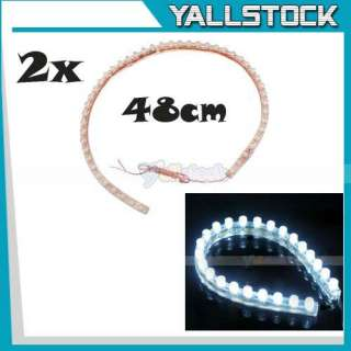 24 LED Strip Car Lights Flexible Grill Light White