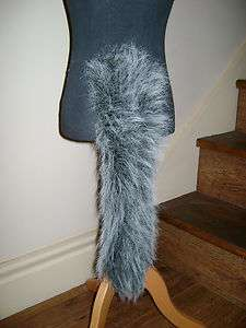 Animal Dog Cat Wolf Tail Grey/White Tipped Luxury Faux Fur Long Pile