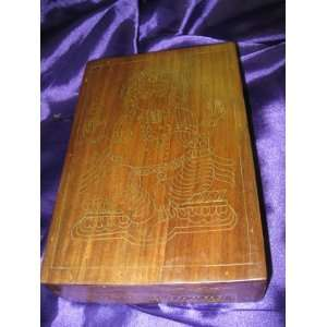 Brass Ganesha Inlay Handmade Decorative Walnut Wooden Jewelry Box From