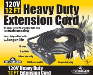 NEW Hydrofarm 25 Ft 120v Heavy Duty Extension Cord