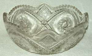 1905 Indiana Glass Double Pinwheel Bowl EAPG Whirling Star/Juno