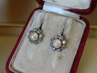 ANTIQUE GEORGIAN EARLY VICTORIAN GOLD SILVER DIAMOND PEARL CLUSTER