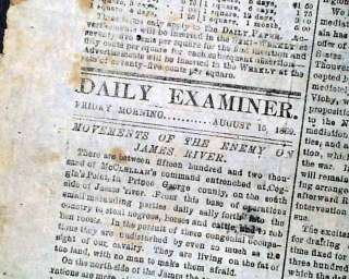 Yorktown & James River reports 1862 Confederate Civil War Newspaper
