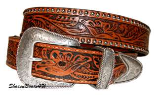 MENS NOCONA TOOLED TAN LEATHER WESTERN BELT 44 NEW $45