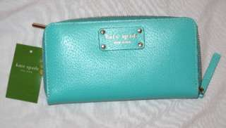 NWT KATE SPADE BELIZE AQUA BLUE WELLESLEY LEATHER NEDA CLUTCH WALLET