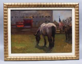 ANTIQUE AMERICAN FLAG HORSE BARN IMPRESSIONIST HAMPTONS STABLE OIL