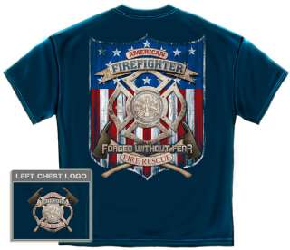 American Firefighter T Shirt Fire rescue USA flag fireman badge