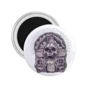 Tattoo Cross Skull Art Fridge Souvenir Magnet 2.25