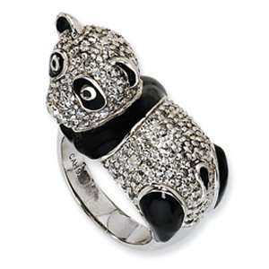 Sterling Silver Cubic Zirconia Black Enameled Panda Ring