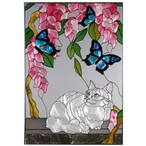 White Persian Cat Painted Art Glass Window 14 x 20.5