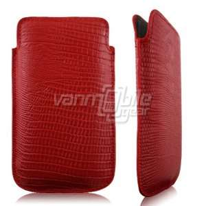 Apple iPhone 4/4S Slip On Pouch 2 ITEM COMBO Red Textured Leather Slip