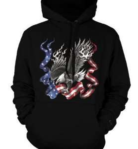 Bald Eagle American Flag USA Patriotic Hoodie Sweatshirt Pullover