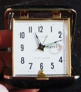PHINNEY WALKER TRAVEL DATE ALARM CLOCK   WORKS MADE IN JAPAN