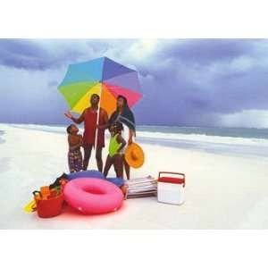 Rainy Day Beach Family, Figurative Note Card, 7x5