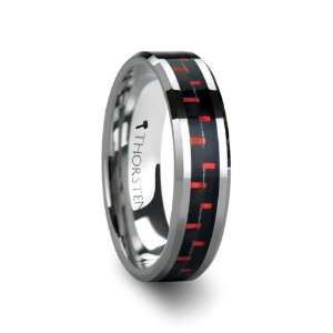 AURELIUS Tungsten Band Inlaid with a Black & Red Carbon