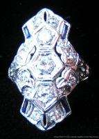 Estate Antique Art Deco Era Platinum Diamond Sapphire Dinner Ring