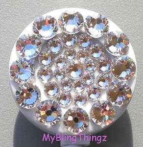 CLEAR Crystal BLING Retractable Reel ID Badge Holder made w/ Swarovski