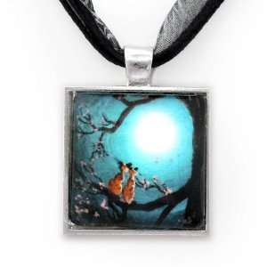 Siamese Cats in Teal Moonlit Cherry Blossoms Handmade Fine Art Pendant