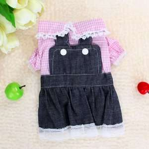 Pet Dog Suspender Dress Skirt Denim Apparel Clothes  Size