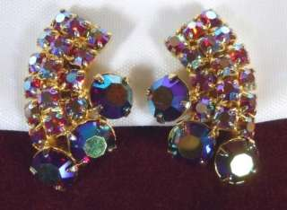 LARGE Vtg Dark PINK Aurora Borealis RHINESTONE Earrings CLIP Deep