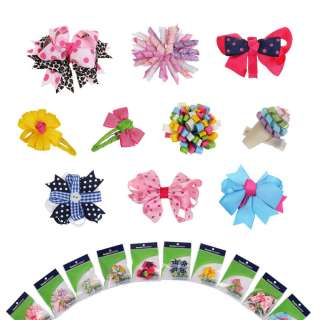 Bundle Monster 10pc Girl Baby Toddler Ribbon Bows Mixed Design Hair