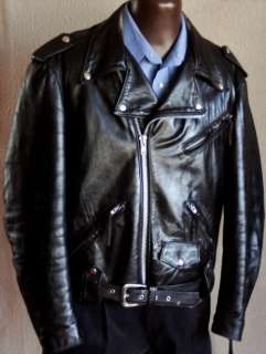 HARLEY DAVIDSON Black Leather Motorcycle JACKET Size 44 Large