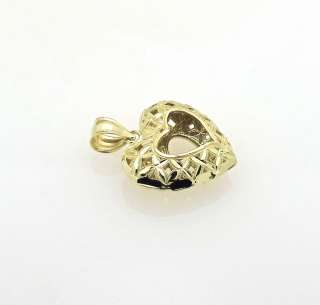 14k Yellow Gold Filigree Open Heart 3D Charm Pendant