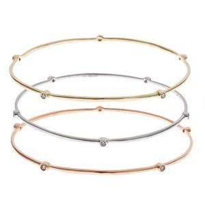 14k Tri Color Gold Diamond Stackable Bangle Bracelets
