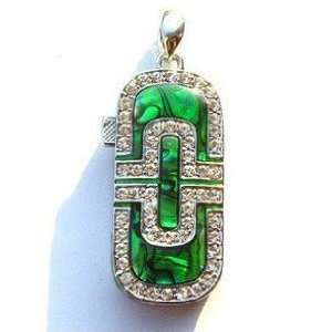 Green Crystal Simple Style USB Flash Drive with Necklace Electronics