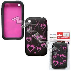 iPhone Laser Cherry Heart Skin Case   Hot Pink/Black Cell
