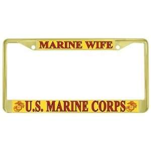 USMC Marine Corps Wife Gold Tone Metal License Plate Frame Holder