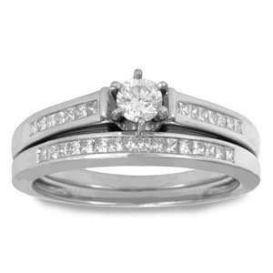 Princess Round Diamond 14k White Gold Bridal Ring Set Ring Jewelry