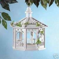 White wood gazebo garden birdfeeder, yard bird feeder