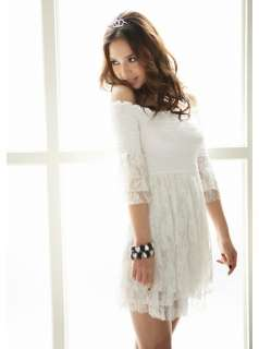 Fashion White Women 1/2 Sleeve Boat Neck Party Cocktail Mini Dress