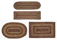 Burgundy & Tan Braided Jute Oval or Rectangle Rugs, Runners & Stair