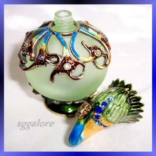 Swarovski Crystal BeJeweled PEACOCK Bird Perfume Vanity Glass Bottle