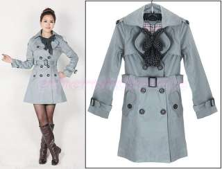 Fashion Womens Slim Fit Double breasted Trench Coat Jacket Outwear 4