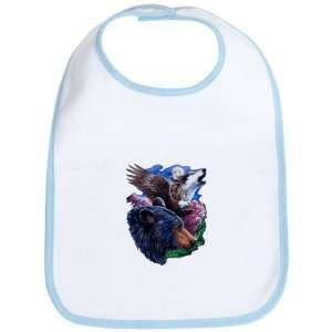 Baby Bib Sky Blue Bear Bald Eagle and Wolf Everything