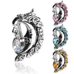 Gemed Moon Face With Dangle Topaz Cubic Zirconia Top Drop