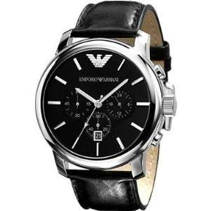 Emporio Armani Classic Leather Chronograph Black Dial Men